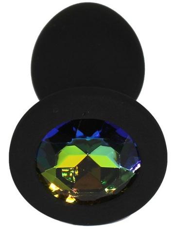 Черная анальная пробка с радужным кристаллом - 7,3 см.
