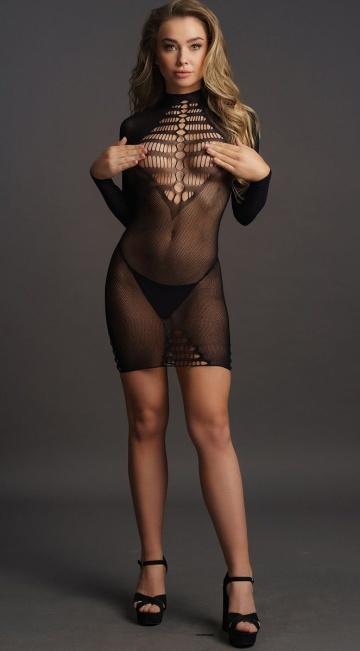 Платье с длинными рукавами Long Sleeve Fishnet Dress