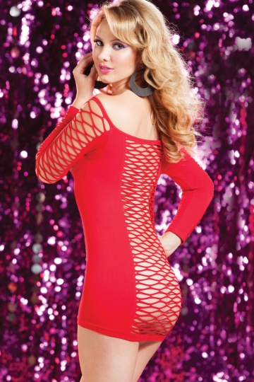 Откровенное платье в крупную сетку