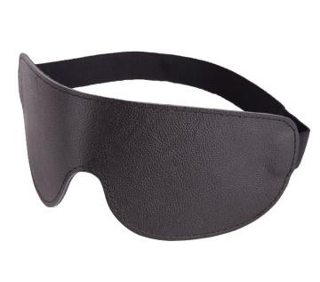 Чёрная широкая кожаная маска на глаза