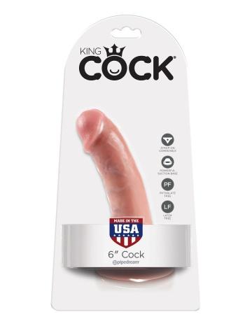 """Телесный фаллоимитатор 6"""" Cock на присоске - 15,2 см."""