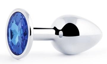 Анальное украшение SILVER PLUG SMALL с синим кристаллом - 7,2 см.