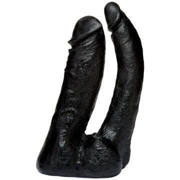 Черная насадка-фаллоимитатор для двойной стимуляции Double Penetrator - 16 см.