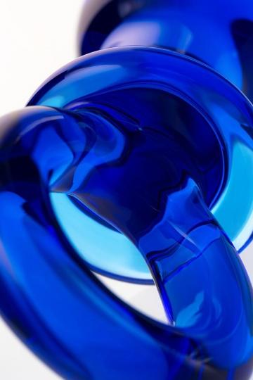 Синяя анальная пробка из стекла с ручкой-кольцом - 14 см.