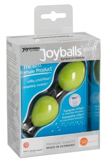 Зелёные вагинальные шарики на чёрной сцепке Joyballs Secret
