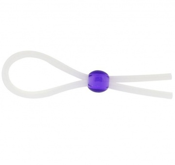 Прозрачное лассо с фиолетовой бусиной SILICONE COCK RING WITH BEAD LAVENDER