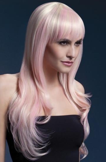 Парик цвета блонд с розовыми прядями