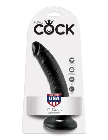 """Чёрный фаллоимитатор с присоской 7"""" Cock - 17,8 см."""