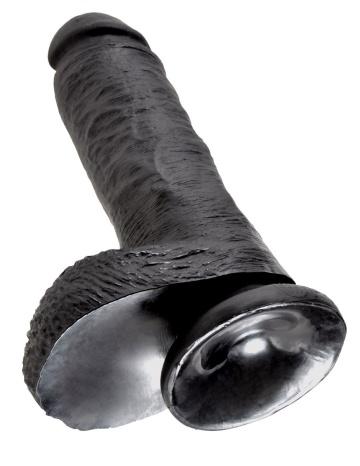 """Чёрный фаллоимитатор 8"""" Cock with Balls - 21,3 см."""