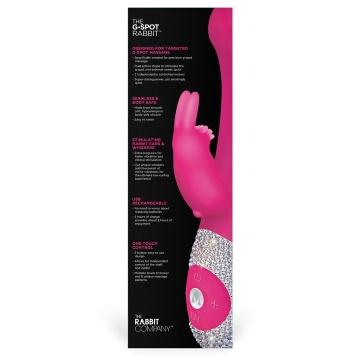 Розовый вибромассажёр The G-spot Rabbit с украшенной стразами рукоятью - 22 см.