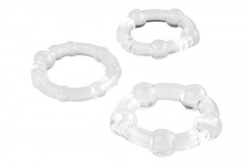 Набор из 3 прозрачных эрекционных колец с разным рельефом