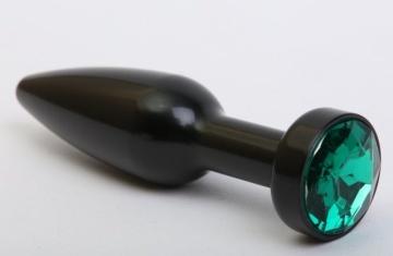 Чёрная удлинённая пробка с зелёным кристаллом - 11,2 см.