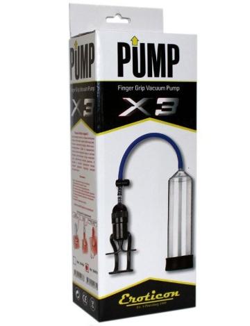 Чёрная вакуумная помпа Eroticon PUMP X3 с ручным насосом
