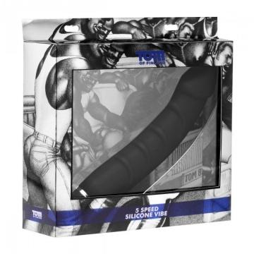 Ребристый анальный вибратор 5 Speed Silicone Vibe - 24 см.