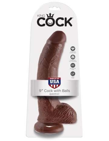 "Коричневый фаллоимитатор 9"" Cock with Balls - 22,9 см."
