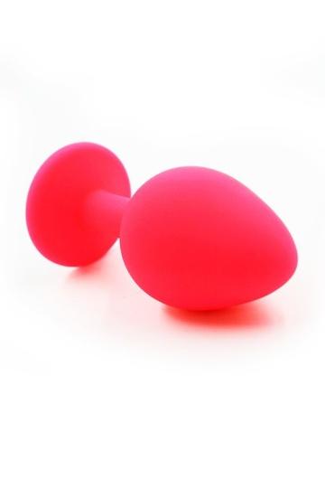 Розовая силиконовая анальная пробка с розовым кристаллом - 7 см.