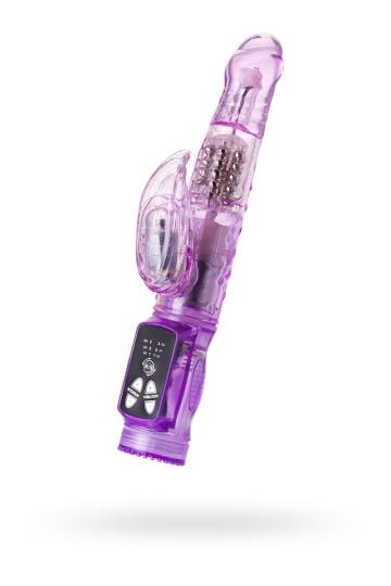 Фиолетовый вибратор High-Tech fantasy с клиторальным лепестком - 21 см.