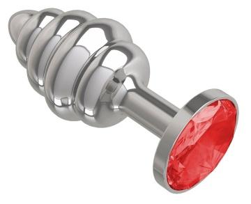 Серебристая пробка с рёбрышками и красным кристаллом - 7 см.
