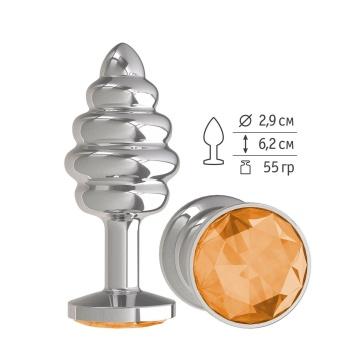 Серебристая пробка с рёбрышками и оранжевым кристаллом - 7 см.