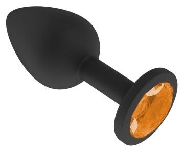 Чёрная анальная втулка с оранжевым кристаллом - 7,3 см.