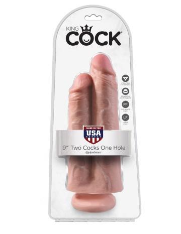 """Телесный сдвоенный фаллоимитатор 9"""" Two Cocks One Hole - 25,4 см."""