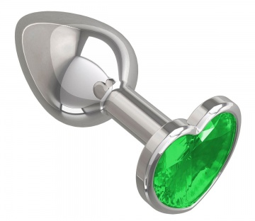 Серебристая анальная втулка с зеленым кристаллом-сердцем - 7 см.